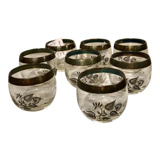 Georges Briard Silver Rim Roly Poly Glasses - Set of 8 For Sale