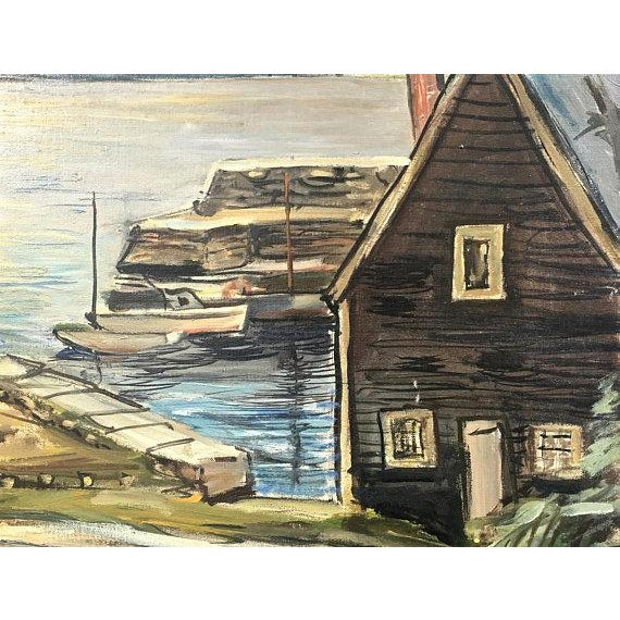 "1940s 1940s Original ""New England Wharf Harbor"" Signed Oil Painting by Vetold Pasternacki For Sale - Image 5 of 11"