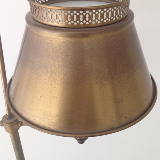 Aged Brass Tole Floor Lamp - Image 5 of 11