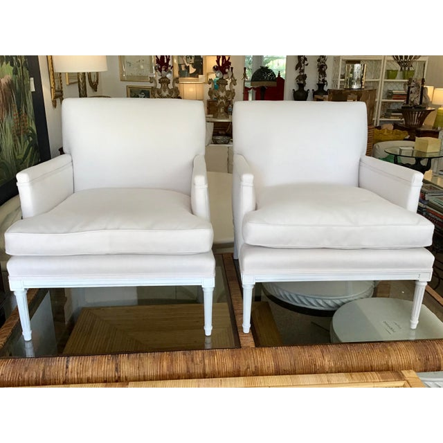 French 1940's Louis XVI Club Chairs in New Sunbrella Upholstery- a Pair For Sale - Image 11 of 11