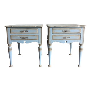 Vintage Shabby Chic Hand Painted End Tables - a Pair