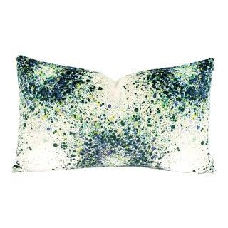 "Highland Court Bellatrix in Aegean Lumbar Pillow Cover - 12"" X 20"" Green, Blue, Yellow and White Splatter Print Velvet Cushion Case For Sale"