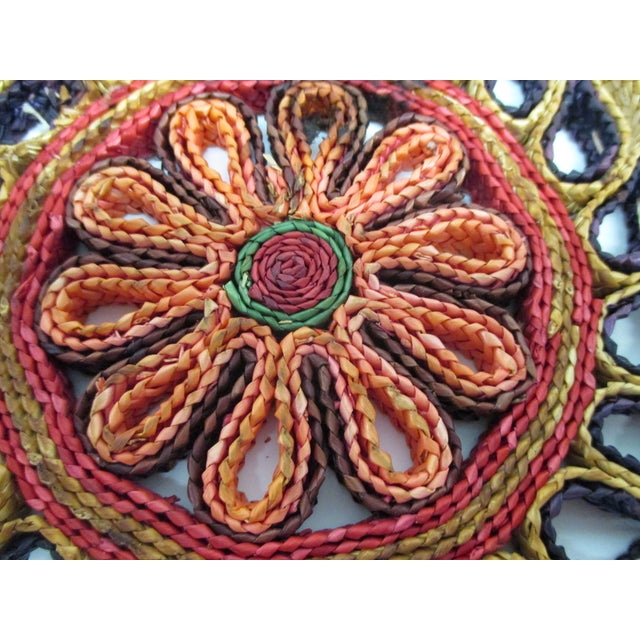 1990s Vintage Set of Four (4) Small Woven Abaca Round Trivets in Natural Fiber For Sale - Image 5 of 8