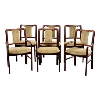 Danish Mid-Century Rosewood Dining Chairs With New Velvet Upholstery