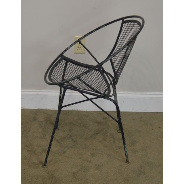 "Black Salterini Vintage 1960's Wrought Iron ""Radar"" Patio Lounge Chair For Sale - Image 8 of 13"