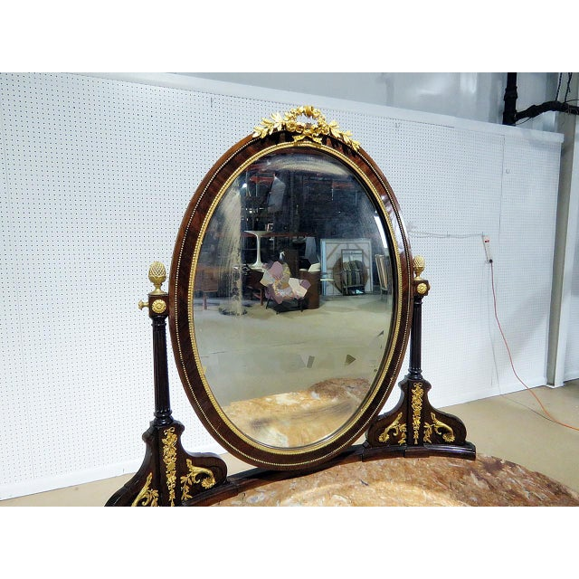 Brass Regency Style Marble Top Vanity With Mirror For Sale - Image 7 of 11