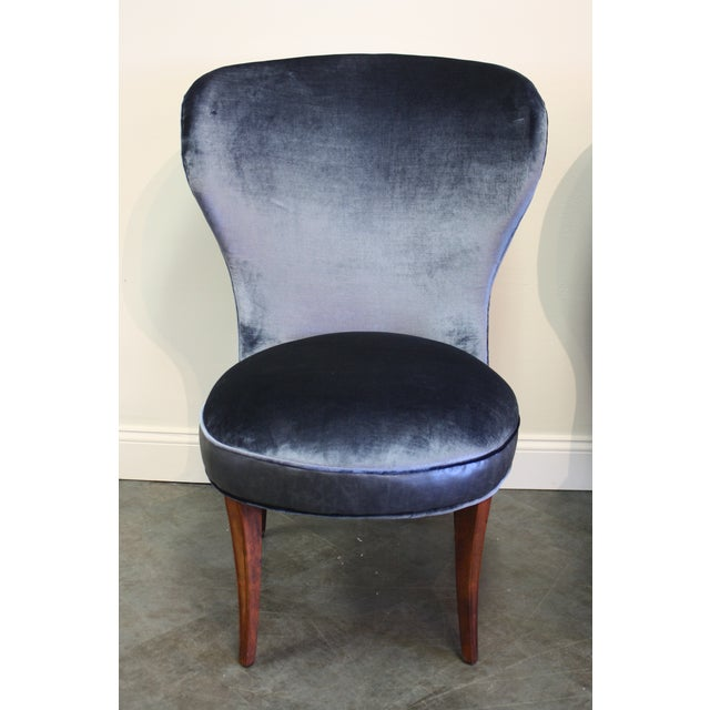 Mid-20th Century Art Deco Midnight Blue Velvet Slipper Chairs - a Pair - Image 3 of 9