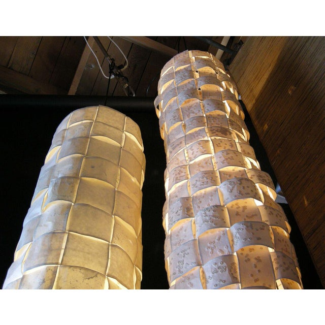 Large Hanging Tube/Cocoon Like Handwoven Paper Lights - Image 5 of 9