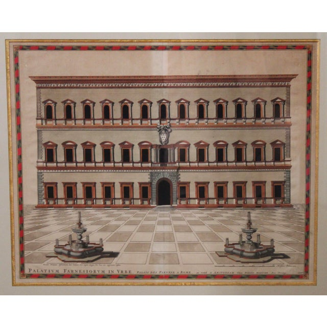 Traditional 18th C. Architectural Engraving of a Roma Palazzo For Sale - Image 3 of 7