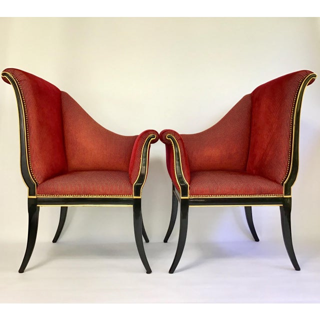 Hollywood Regency Karges Parler Deux Chairs - A Pair For Sale - Image 3 of 12