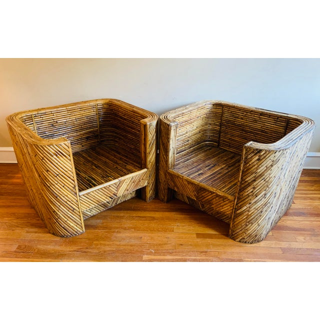 Beige Vintage Bamboo Club Chairs - a Pair For Sale - Image 8 of 10