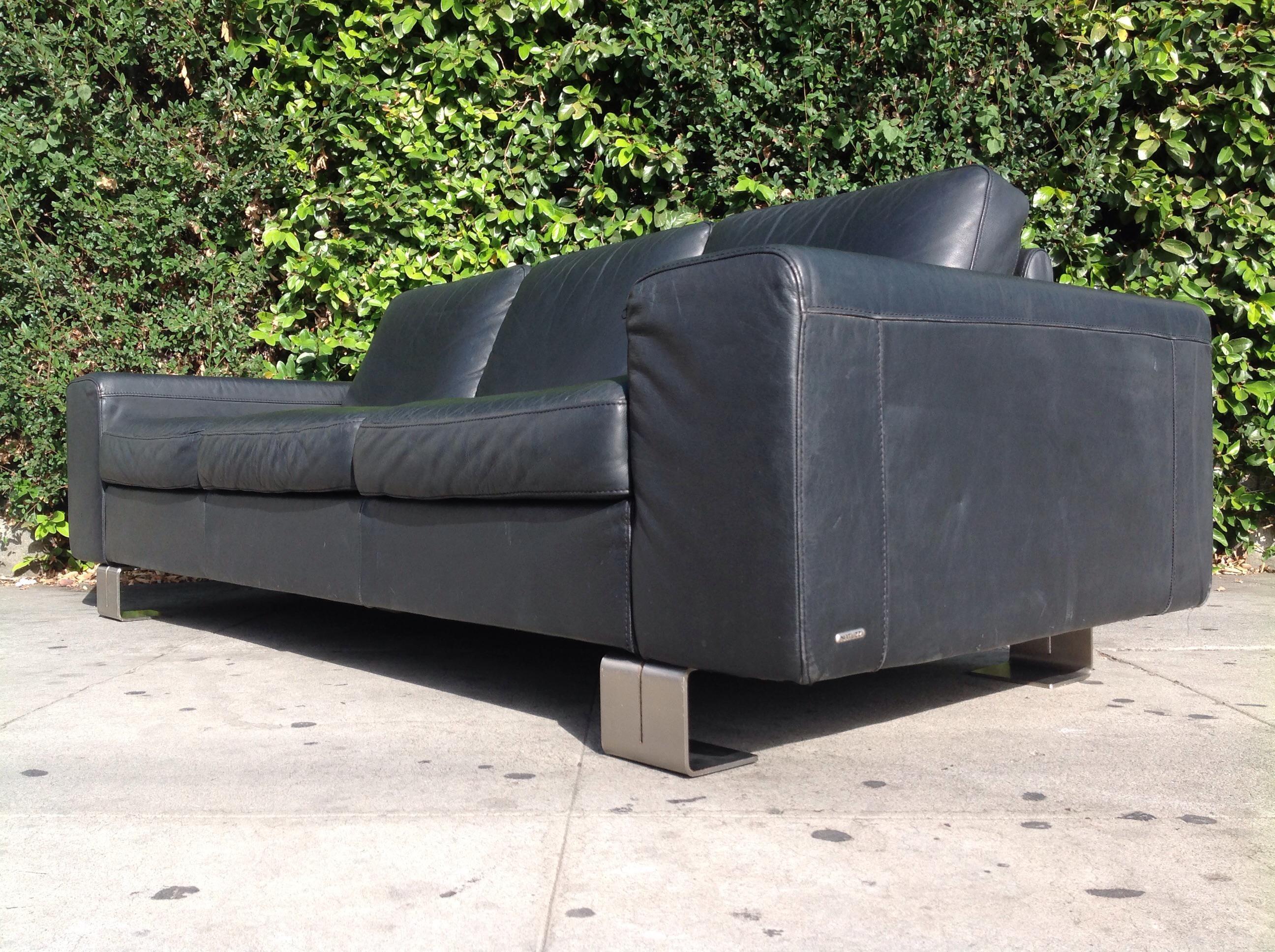 Natuzzi Modern Natuzzi Italia Leather Sofa With Metal Legs For Sale   Image  4 Of 6