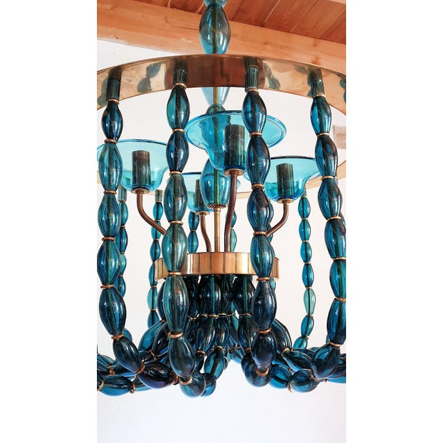 Venini 1960s Large Venini Style Blue Murano Glass Mid Century Modern Chandelier For Sale - Image 4 of 9