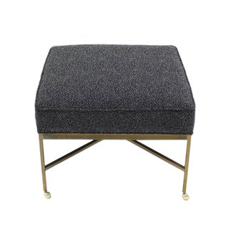 Large Solid Brass X Base Ottoman New Upholstery