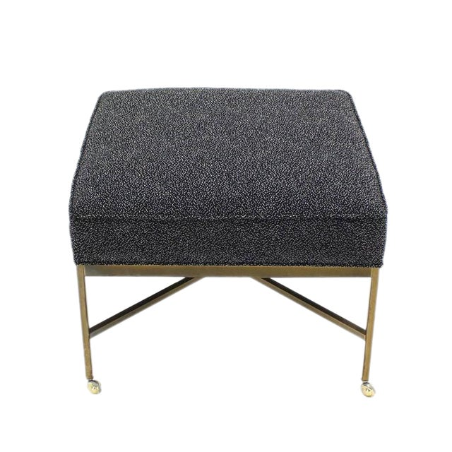 Large Solid Brass X Base Ottoman New Upholstery For Sale