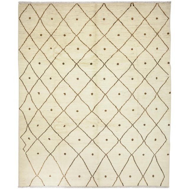 """Moroccan Hand Knotted Area Rug- 7'10"""" x 9'9"""" - Image 1 of 3"""