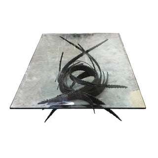 1970s Brutalist Silas Seandel Torch Cut Iron Coffee Table For Sale