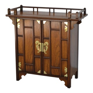 1970s Asian Wooden Sideboard Cabinet For Sale