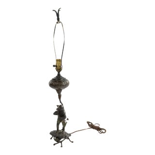English Victorian Bronze Monkey Table Lamp For Sale