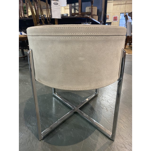 Pair of Custom Made Suede End Tables With Stainless Steel Frame For Sale In New York - Image 6 of 10