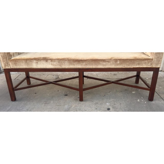 Baker Furniture Company Thomas Pheasant for Baker Scroll Arm Bench For Sale - Image 4 of 5