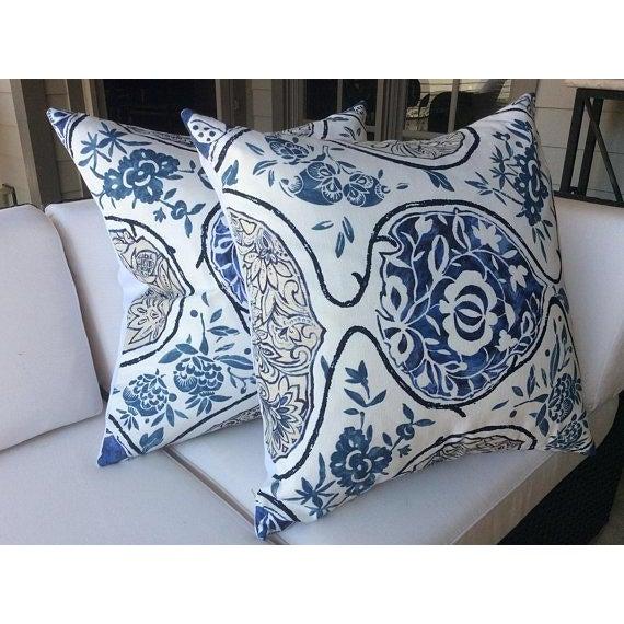 """Schumacher Schumacher """"Katsugi"""" Blue Pillows - a Pair For Sale - Image 4 of 5"""