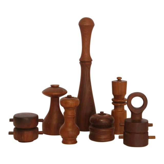 1980's Vintage Danish Pepper Mills by Quistgaard- Set of 7 For Sale
