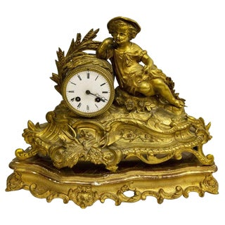19th Century Antique French Gilt Figural Mantle Clock on Gilt-Wood Stand For Sale