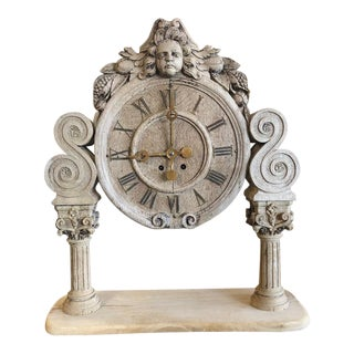 French Renaissance Architectural Carved Clock For Sale
