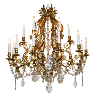 19th Century French Neoclassical Bronze Chandelier For Sale