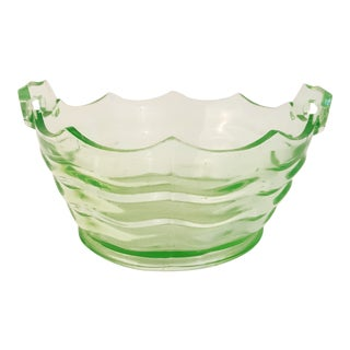 Antique Jenkins Glass Company Vaseline Glass Bowl For Sale