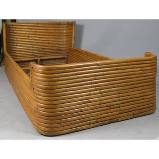 1940s Boho Chic Rattan Bed With Curved Corners Preview