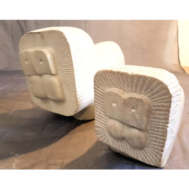 Pair of African Stylized Lion Stone Sculptures, Mid Century Modern, 1960s For Sale - Image 4 of 12
