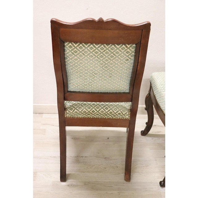 19th Century Italian Carved Mahogany Charles X Six Chairs For Sale - Image 10 of 13