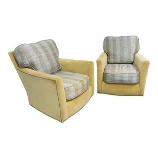 Lee Industries Modern Design Swivel Club Chairs- a Pair For Sale