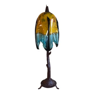 Mexican Blue and Yellow Blown Glass Tree Table Lamp For Sale