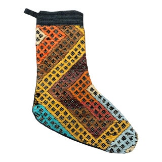 Christmas Stocking From Vintage Turkish Kilim For Sale