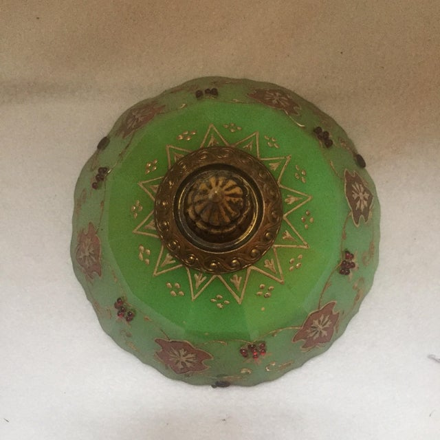 Moroccan Gilted Jadeite Glass Hanging Votive - Image 8 of 8