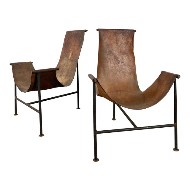 Cool Pair Distressed Leather Iron T Frame Sling Chairs 1950S Cjindustries Chair Design For Home Cjindustriesco