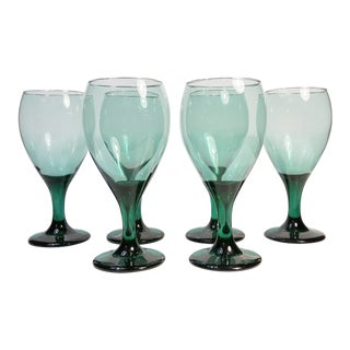 Mid-Century Modern Teal Green Wine Glasses - Set of 6 For Sale
