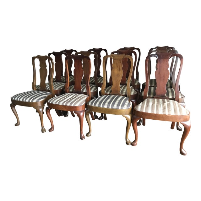 Armless Queen Anne Style Dining Chairs - Set of 12 - Image 1 of 6