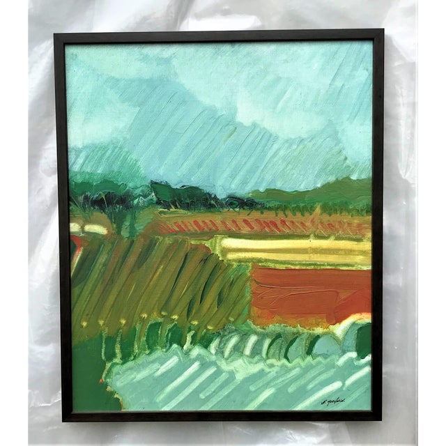 Aqua 1970s Expressionist Landscape by Norman F. Goodwin For Sale - Image 8 of 8