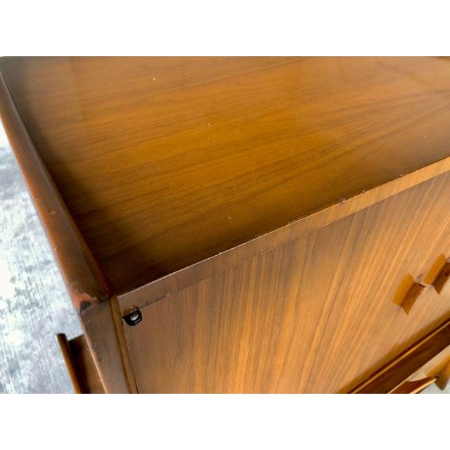 Mid Century Modern Retro Atomic Walnut High Boy Dresser Wardrobe Chest of Drawers Bedroom Set Storage Piece - Image 8 of 11