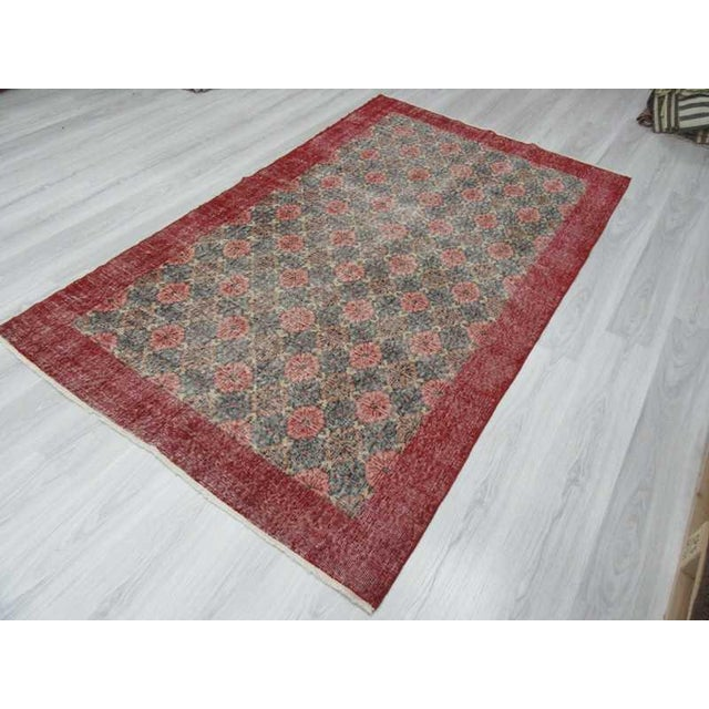 Vintage Turkish Art Deco Hand-Knotted Rug - 4′9″ × 8′ For Sale - Image 5 of 6