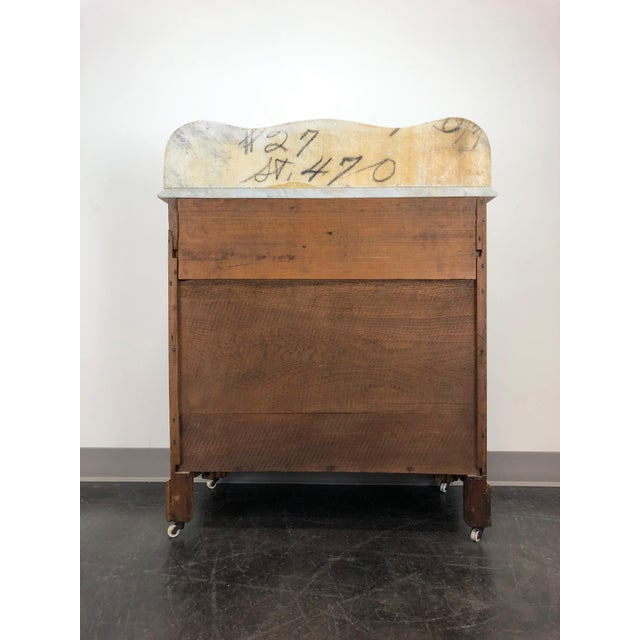 Antique Victorian Walnut & Oak Marble Top Commode / Washstand For Sale - Image 4 of 13