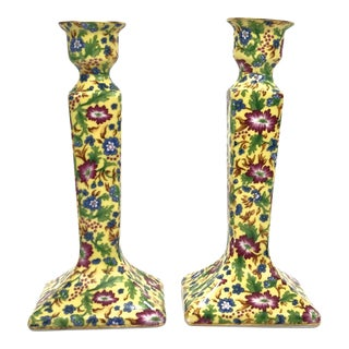 Porcelain Chintz Candlesticks For Sale