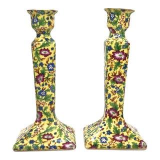 Porcelain Chintz Candlesticks For Sale