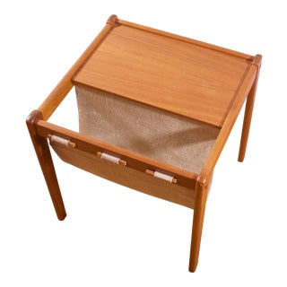 Mid-Century Furbo Danish Teak Side Table With Magazine Holder