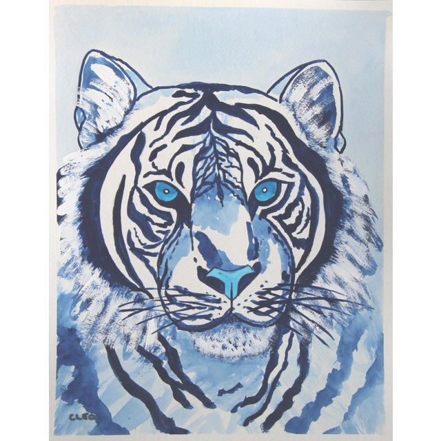 Indigo Blue Lion by Cleo Plowden For Sale In New York - Image 6 of 10