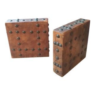 Leather Studded Bookends - a Pair For Sale